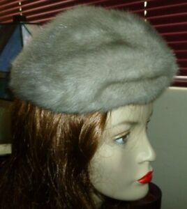 "Real Silver Mink Fur Hat Beanie Cap B Forman Company  Size S - 20"" Circumference"