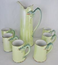 Vintage 1930's H & Co Selb Bavaria Iridescent Green Dragon Pitcher & Mugs
