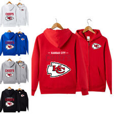 Kansas City Chiefs Unisex Sports Full Zip Casual Hooded Jacket Coat