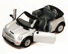MINI COOPER S CONVERTIBLE 1/28 SCALE SILVER DIECAST CAR BY KINSMART 5089DSV