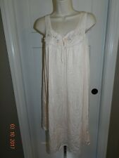 Vintage Nylon Nightgown M Peach Embroidered Flowers & Lace Deena USA