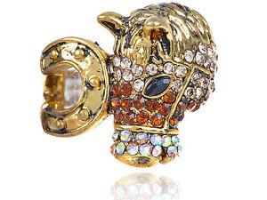 Gold Petite Brass Accented Horseshoe Fields Glory Fashion Ring Xmas Gift Band