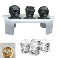 Skull Shape 3D Ice Cube Mold Bar Party Silicone Trays Halloween Mould NEW Desgin