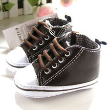 NEW Baby Boys Navy Blue or Brown Hi-tops Smart Sneaker Shoes 0-6-12-18 months