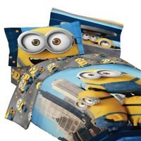 5pc MINIONS TWIN BEDDING SET - Despicable Me Yellow Cool Comforter Sheets Sham