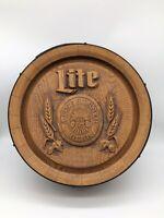 Miller Lite Beer Wooden Barrel Back Bar Sign Game Room Man Cave