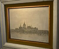 Intricate Etching on Metal Plate - Hungarian Parliament - Frank De Balogh 1968