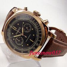 Parnis 44mm Estuche De Oro Cuadrante negro Reloj Para hombres con Cronógrafo Cuarzo Completo 5ATM 676