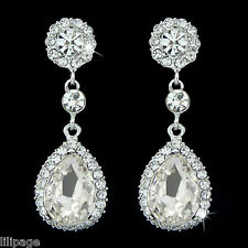 Pierced Pretty Clear Crystal Tear Drop Sparkling Diamante Bridal Dangle Earrings