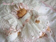 """""""Rosebuds & cintas"""" de 4 Piezas Conjunto para Bebés 0-4mth. (instrucciones de ganchillo.) #2"""