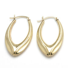 Vintage 14k yellow gold long hoop earrings ribbed large Estate