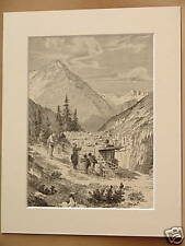 SWISS CHALET ALPS SCENE ANTIQUE MOUNTED ENGRAVING c1890