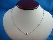 "5 BLUE & WHITE DIAMONDS 0.80 CT ""DIAMONDS BY THE YARD"" 14K WHITE GOLD NECKLACE"