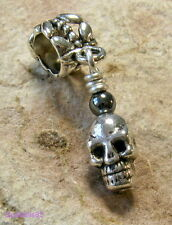 Tibetan SILVER & HEMATITE Gothic SKULL Dangle CHARM Bead For European Bracelet