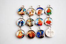 Lots 50p 13mm Catholic Religious Crosses Enamel Medal Charms Pendants Crucifixes