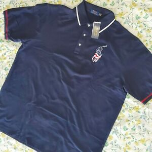 Polo Ralph Lauren Men US Flag Big Pony Polo Shirt Patriotic Navy Big & Tall 3XLT