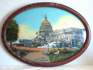 "Antique REVERSE Glass Painting US Capitol Building Washington DC 21x15"" FREE SH"