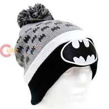 DC Comic Batman Beanie Bat Logo Cuff Pom Beanie Hat Cap Black Grey (Teen-Adult)