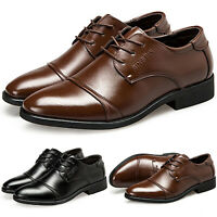 Men Oxfords Leather Business Formal Dress Shoes Brogues Wing tip Lace Up Loafers