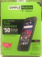 NEW-SEALED ZTE Majesty Pro - 8GB - Black (Simple Mobile) Smartphone