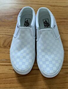 VANS Slip On Gray & White Off the Wall Checkered Canvas Shoes Mens Size 11
