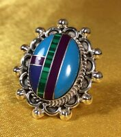 Vintage 925 Sterling Silver Mexico Multi Mosaic Gemstone Ring Fine Jewelry