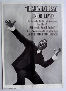 JUNIOR LEWIS 1961 Poster Ad HEAR WHAT I SAY