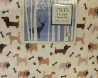 Divatex Home Fashions 100% Cotton Twin Flannel Sheet Set (Dog Design) DOGS  NWT