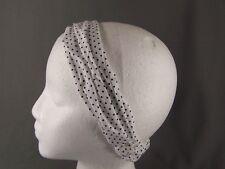 White Black polka dot fabric stretch headband kerchief 3in1 scrunch bandana dots