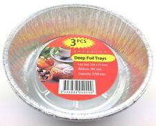 12xRound Deep Foil Tray Aluminium Foil Roasting Tray Pan BBQ Roast Baking Trays