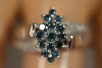 HEAVY WIDE 14K WHITE GOLD .86CTW WHITE BLUE DIAMOND FLOWER ART DECO RING SZ 8
