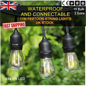 4 Sets Connectable Heavy Duty String Lights 11M with 10 Holders Outdoor Lighting