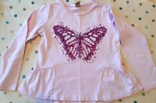 Pink & white Butterfly Long Sleeve T Shirt Top 5 yrs with sequins excellent cond