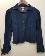 be33fc1f9998fb Womens Denim Top Button Front Ruffled Sleeve Cuff Long Fitted Aqua Blues  Size S