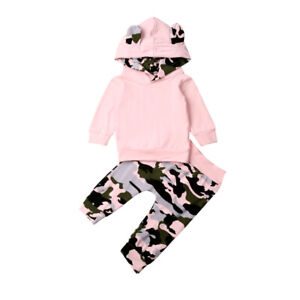 2PCSSet Infant Baby Girl Clothes Hooded Top+Camo Pants Outfits Toddler Tracksuit