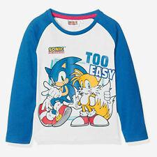 T-shirt manches longues SONIC taille 3 4 6 ou 8 ans blanc et bleu NEUF