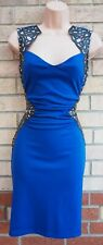 LIPSY ROYAL BLUE BLACK FAUX LEATHER MESH SIDES V NECK BODYCON PARTY TUBE DRESS S