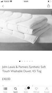 BNIB John Lewis Soft Touch Synthetic Washabke Duvet/4.5 Tog/SK/RRP£40