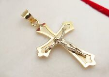 10k Two Tone Gold Cross Pendant Gold Crucifix 1.2""