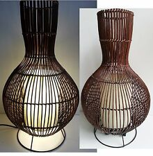 BALI BAMBOO WOOD RATTAN WICKER BOTTLE DESK LAMP LANTERN LIGHT BALINESE 50CM