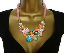 Sparkly Pink Stardust Flower Cluster Necklace With Fixed Pendant Crystals Bib