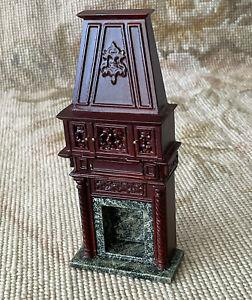 "Bespaq Mahogany Fireplace Hearth Hidden Drawers HALF INCH 1:24 1/2"" Scale 3210"