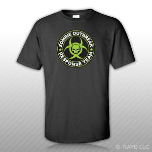 Green Zombie Outbreak Response Team T-Shirt Tee Shirt Free Sticker hunting