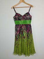 Vintage Designer Gerry Shaw Silk Floral Beaded Midi Sun Dress Women's Size 10