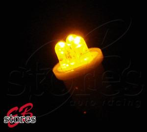 Yellow Step Light 3 LED T10 Wedge Light Bulbs 2pcs 168 2821 2886X (1 Pair)