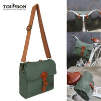 TOURBON Bike Rack Bag Handlebar Case Pannier Shoulder Front Pack Canvas-in Green
