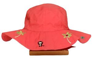 Gymboree Girls Jungle Gem Coral Island Monkey Sun Hat Sz 0-12 Months NWT