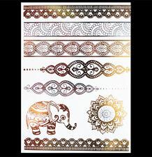 Flash Tatuaggio Elefanti Manda Temporaneo Metallico Oro Argento Bracciale Catena