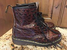 VTG Authentic Rare DOC Dr. MARTENS Brown Crocodile Print Boots UK 6 US 7.5