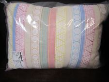 New Pier 1 Large Rectangle Embroidered stripes Throw Pillow Pastel nursery outdr